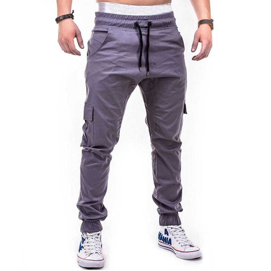 HTB16sHXCbuWBuNjSszgq6z8jVXa1 Men's Pants 2018 Fashion Men's Pure Color Bandage Casual Loose Sweatpants Drawstring Pant       july22