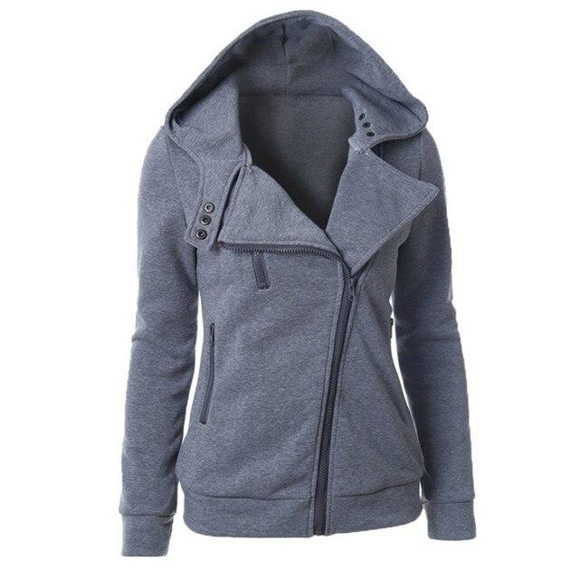 Новый Стиль Осень Зима Молнии С Капюшоном Куртки Верхняя Одежда Пальто Теплые Женщины С Длинным Рукавом Толстовки Кофты