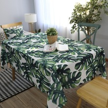 Rectangular Table Cloth Pastoral Style Tropical Plants Printed Tablecloth Kitchen Home Decoration Dining Cover