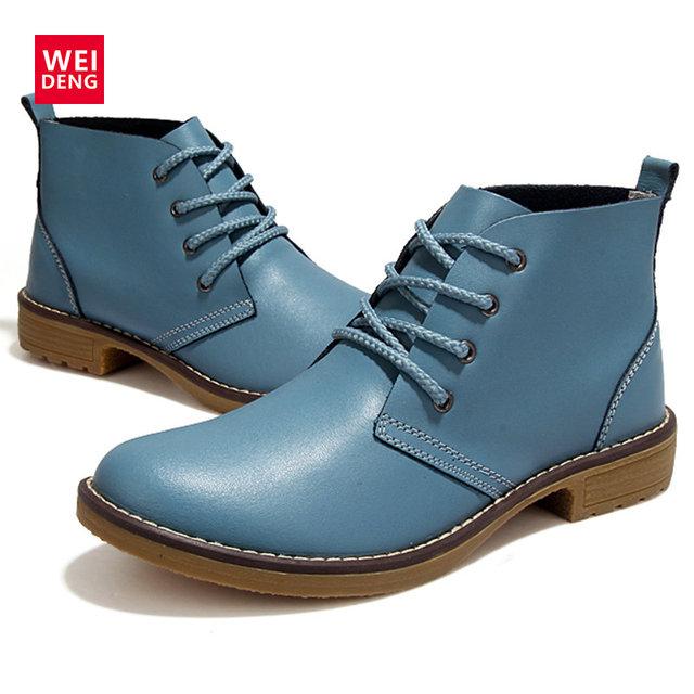 4 Colores Forman a Mujeres Winte Lace up de Cuero Genuino Zapatos de Estilo Clásico Marca Plana Zapatos Casuales Botas 2016