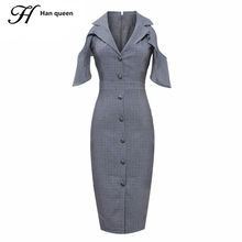 H Han Queen Womens Summer Dresses Sexy Off the shoulde Vestidos Office Women Work Wear Clothes Formal Bodycon Pencil Dress