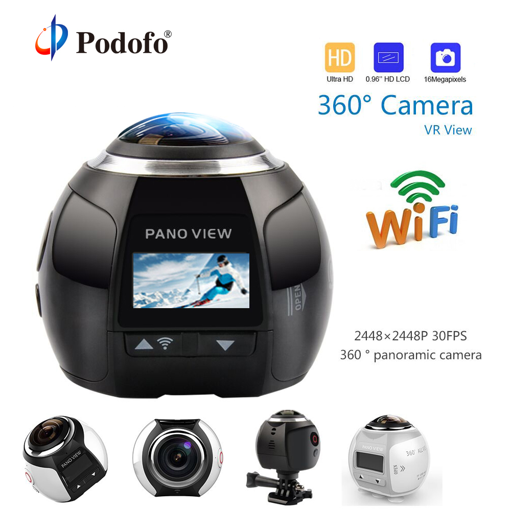 Podofo HD 360 caméra Ultra Mini caméra panoramique WIFI 16MP 3D étanche caméra de sport conduite VR caméra d'action caméra vidéo caméra 30 m