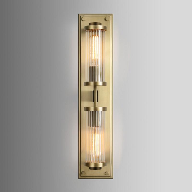 2 głowice amerykańska prostota salon tła sypialnia schody długi kształt kinkiet Hotel Golden kryształ dekoracji światła LED w Wewnętrzne kinkiety LED od Lampy i oświetlenie na You & Me Indoor Lighting Store