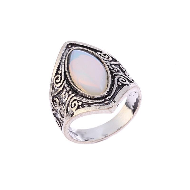 Vintage Moonstone Ring Silver Big Healing Crystal Rings ...