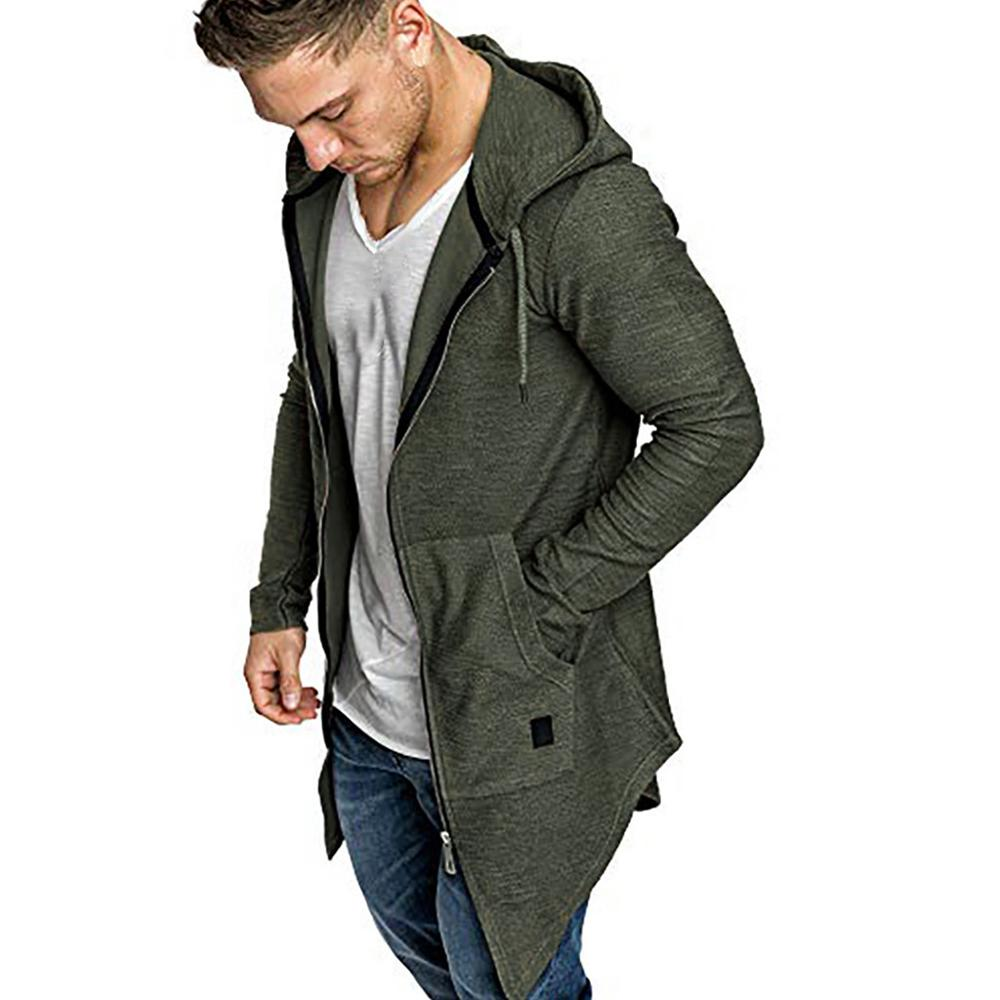 Men Splicing Hooded Solid Trench Coat Jacket Cardigan Long Sleeve Outwear Blouse Casual Open Stitch Jacket Men Reflective Jacket
