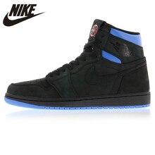 sale retailer 9e68a 3d905 Nike Air Jordan 1 Retro Q54 Quai 54 Schwarz Rot und Blau herren-Basketball- Schuhe, original Outdoor Dämpfung Schuhe AH1040 054
