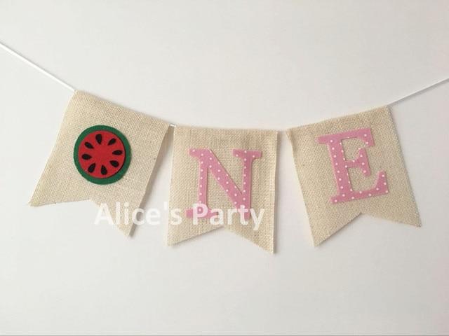 Handmade Pink Watermelon ONE Highchair Bunting Girl 1st Birthday Party  Garland Inspired Baby Shower Banner Photo