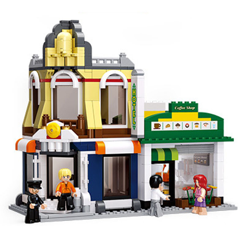 B0575 470pcs Hotels Coffee Shop SimCity Large Scene Building Blocks Toy Brinquedos 3D Construction Toys for Children image
