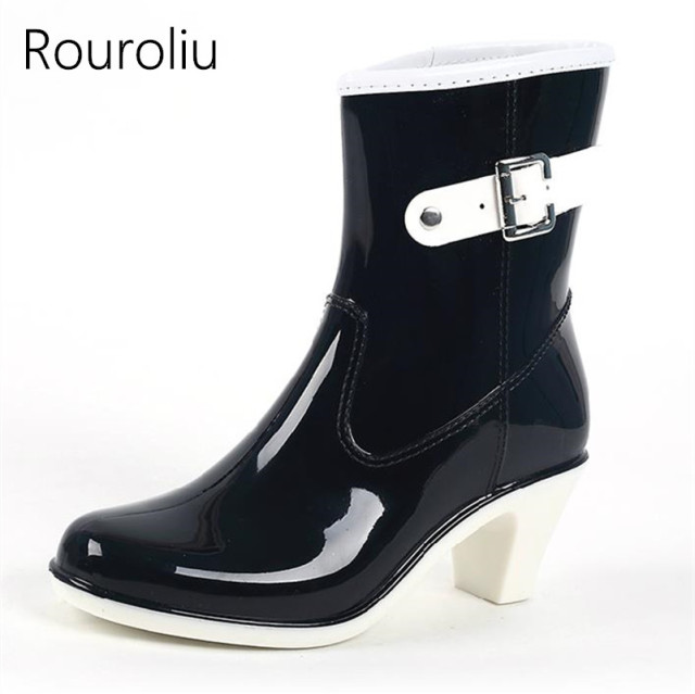 3f5431a85768 Rouroliu Women High Heels Wedges Rain Boots Mid-calf Waterproof PVC  Rainboots Water Shoes Woman Wellies Boots TR13