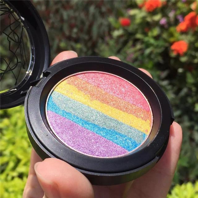 2016 de La Moda Europea Y Americana Arco Iris Destacados Hecha A Mano DIY Maquillaje Del Arco Iris Arco Iris de Sombra de Ojos Maquillaje/Blush