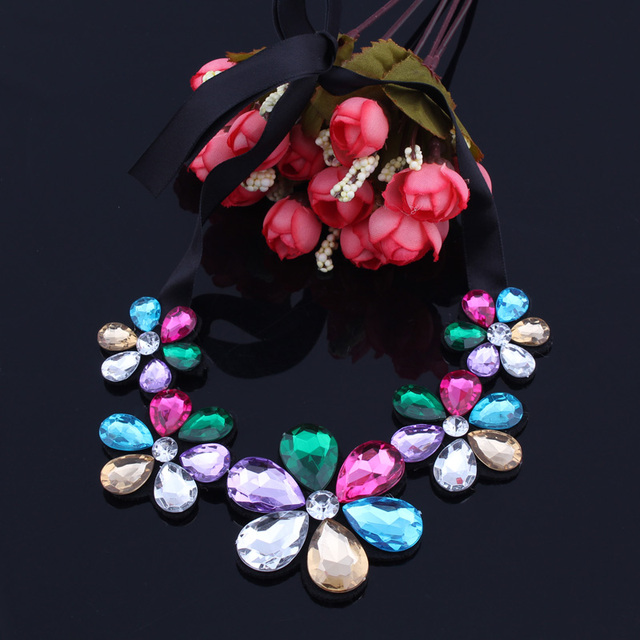 Btuamb Hot Sale Big Rhinestone Flower Necklaces Maxi Water Drop Ribbon Chain Necklaces Pendants for Women Party Jewelry Bijoux Accessories Jewellery & Watches Women's Fashion