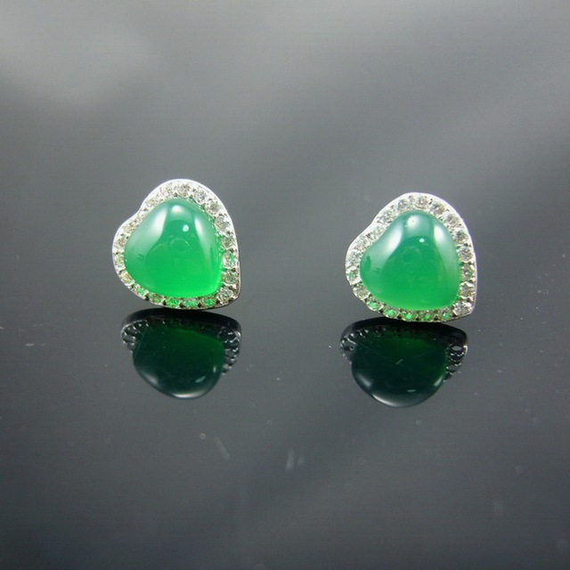 Classic Green Agate Around Rhinestone CZ Heart 925 Sterling Silver Stud Earrings For Women