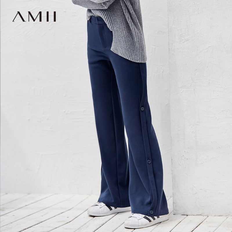 Amii Minimalism Solid   Wide     Legs     Pants   Women Autumn Winter 2019 Causal Buttons High Waist Female Black Navy Blue Trousers