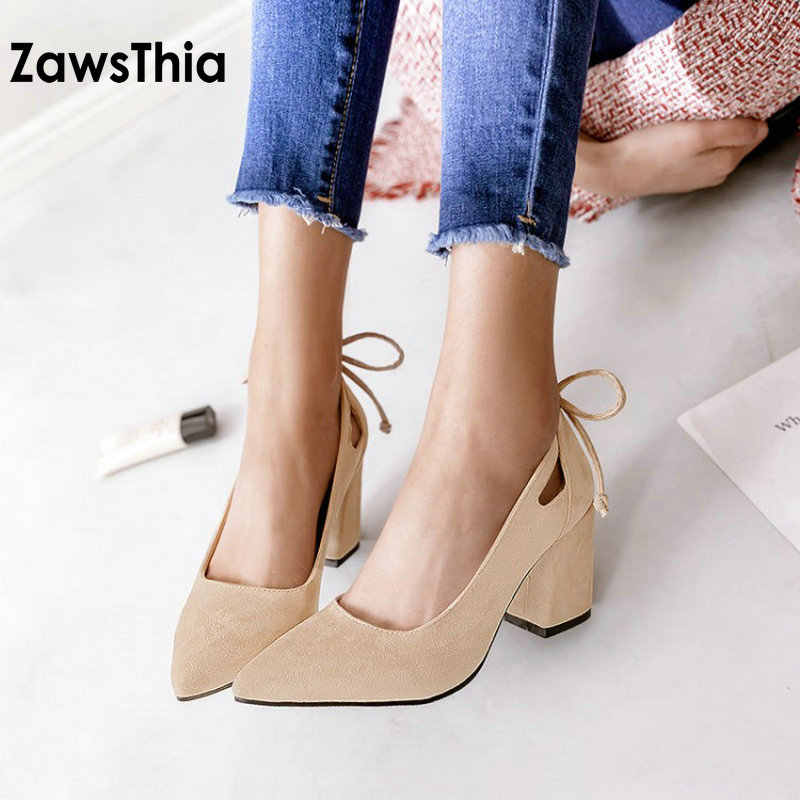 ZawsThia elegant sweet ladies shoes with ribbon at the back block high heels  wedding party pumps 9a3752cb775c