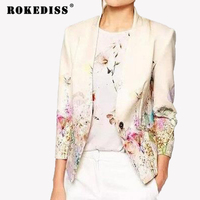 2017 Autumn New Long Sleeved Slim Women Blazers And Jackets Suit Korean Version Slim White Floral