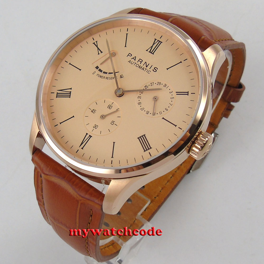 42mm parnis rose pink dial power reserve ST1780 date automatic mens watch P944B цена и фото