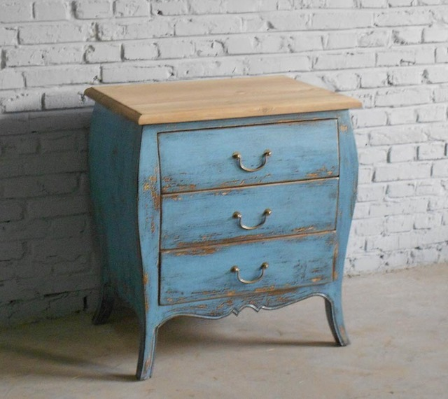 Special Spot Export Of Solid Wood Furniture / Blue Distressed / Pine Bedside  Cabinet / Bed Side Table