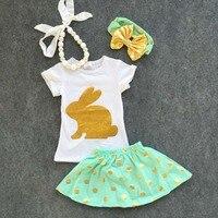 2016 תינוק חדש אסתר יום ארנב זהב סטי שרוולים קצרים בנות ילדי סט שמלת תלבושות פסחא תלבושות קיץ עם אביזרים