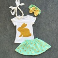 2016 new baby Ester day gold bunny short sleeves sets Girls Easter outfits dress set kids summer outfits with accessories