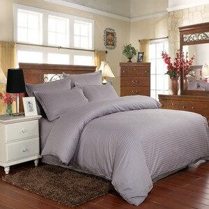 Image 5 - Juego de ropa de cama de 100% algodón, tira de satén, ropa de cama de Hotel blanca de lujo, cubierta de edredón de tamaño King y sábana bajera y funda de almohada