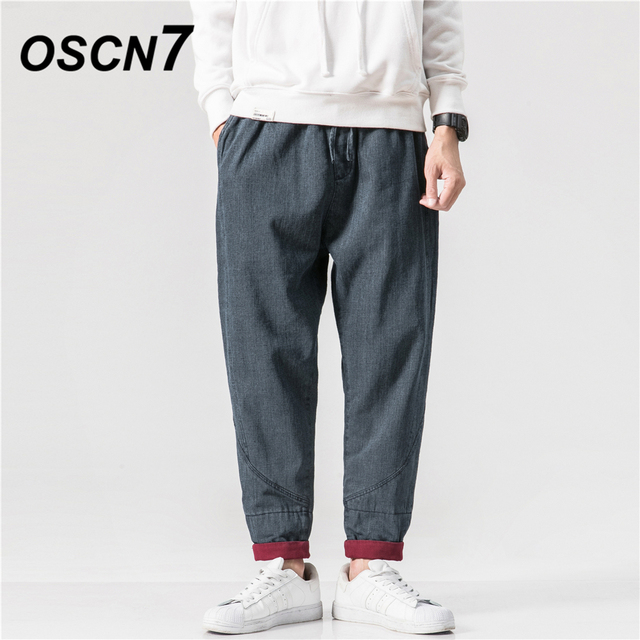 OSCN7 High Street Design Adjustable Elastic Wash Jeans Pants Men 2018 New Mens Jeans Brand Fashion Casual Streetwear 18K04034