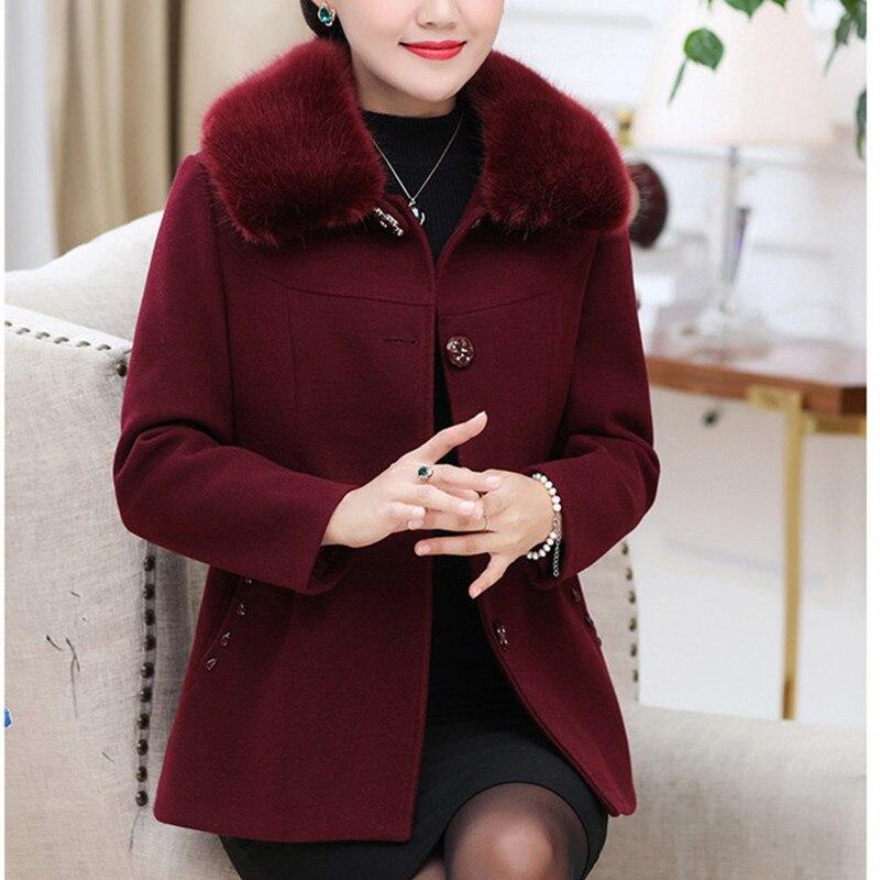 Mode D'hiver Marron Femmes Chaud Casual Style Manteaux Vintage vert Laine De pourpre Manteau camel bourgogne 2018 Coréen ttXRwq