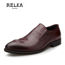 Купить с кэшбэком RELKA Handmade Men Causal Shoes High Quality Genuine Leather Pointed Toe Soft Low Heel Shoes Solid Classic Casual Men Shoes P11