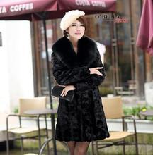 Faux mink leather jacket women jaqueta de couro masculino big collar womens coats chaqueta hombre 2017 winter warm slim black 1