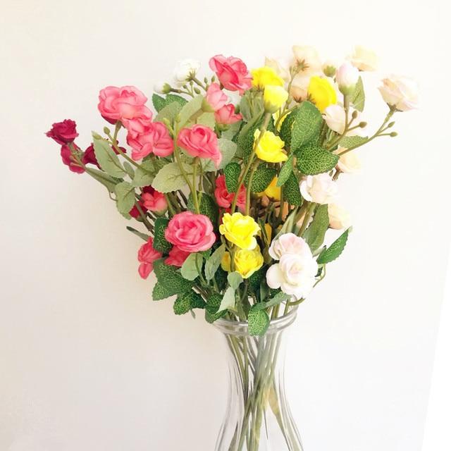 New Arrivals 10pcs Per Lot Lovely Rose Flower Bunch Artificial