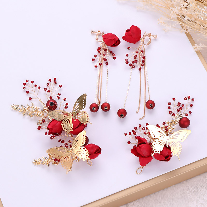 Vintage Women Butterfly Jewelry Sets Wedding Hair Accessories Red Fabric Flower Headband Bridal Tiaras and Crown Earrings Set XH