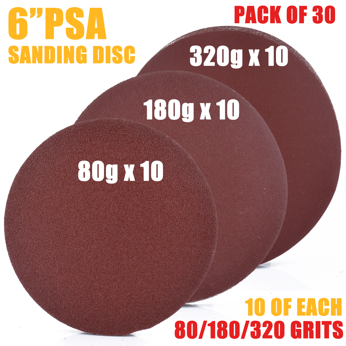 "30x 6/"" PSA Self Adhesive 80//180//320  Grit Sanding Disc Stick On Sandpaper Peel"