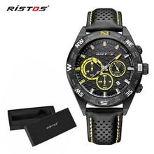 RISTOS, мужские спортивные часы с хронографом, кварцевые повседневные наручные часы из натуральной кожи, мужские часы 93002