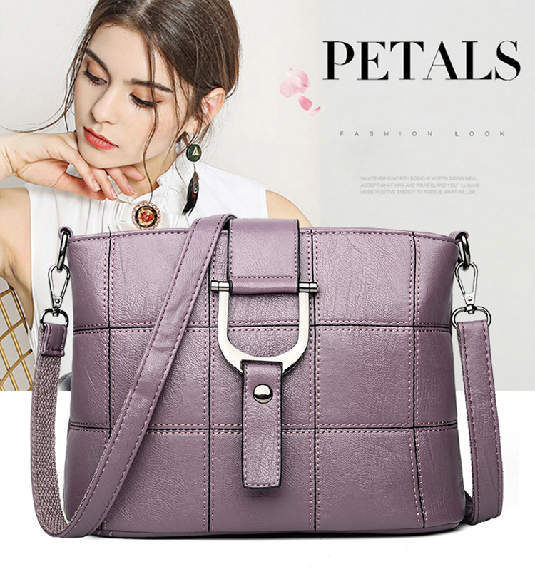 Women Quality Leather Plaid Pattern Handbag 19