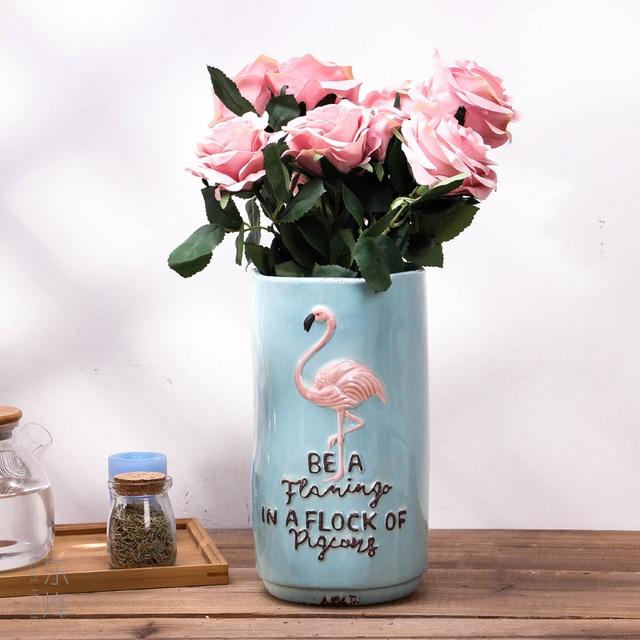 d7a478b024a 1pc Vintage Style Ceramic Vase Flamingo Flower Vase Porcelain Hydroponic  Container Home Wedding Decor (S M L)
