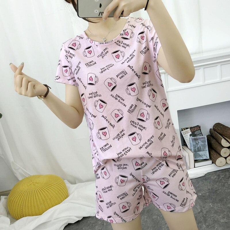 Nette pyjamas sets mit süße rosa kaffee tassen awls autos hunde gedruckt baumwolle mode frauen pyjama sets heißer verkauf für damen