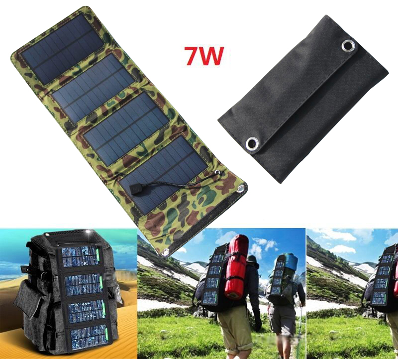 Outdoor 7Watt 5.5V USB Portable Solar Battery Charger Panels High Quality Folding Mono Solar Panel Mobile Cell Phone Power Bank