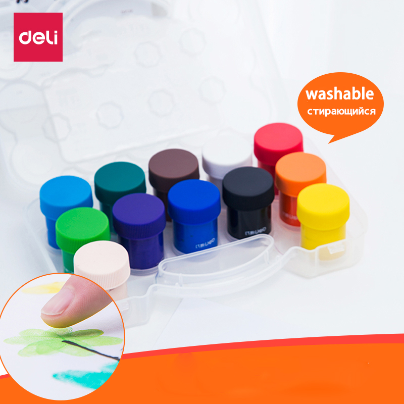 Deli 12 Colors Safe Washable Finger Paint Pigment For Children Finger Graffiti Paint DIY Pigment Kids Education Puzzle Games