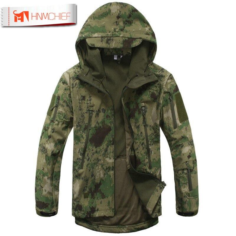 Скрытень Акула кожи Softshell V4 военно-тактические куртка Для мужчин Водонепроницаемый ветрозащитный теплое пальто камуфляж с капюшоном камуф...