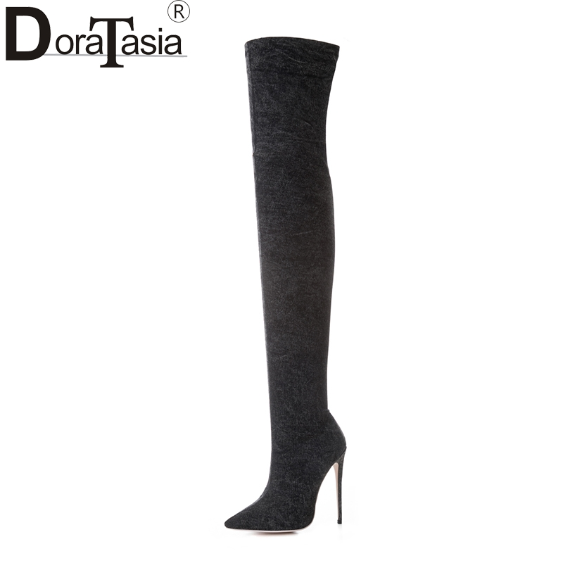 DoraTasia new arrivals large size 33-43 pointed toe brand women shoes woman sexy over the knee boots high heels wedding boots new sexy women boots winter over the knee high boots party dress boots woman high heels snow boots women shoes large size 34 43