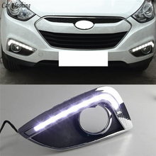 Car Flashing Car light 12V LED DRL Daytime Running Lights with Waterproof fog lamp hole For Hyundai IX35 2010 2011 2012 2013