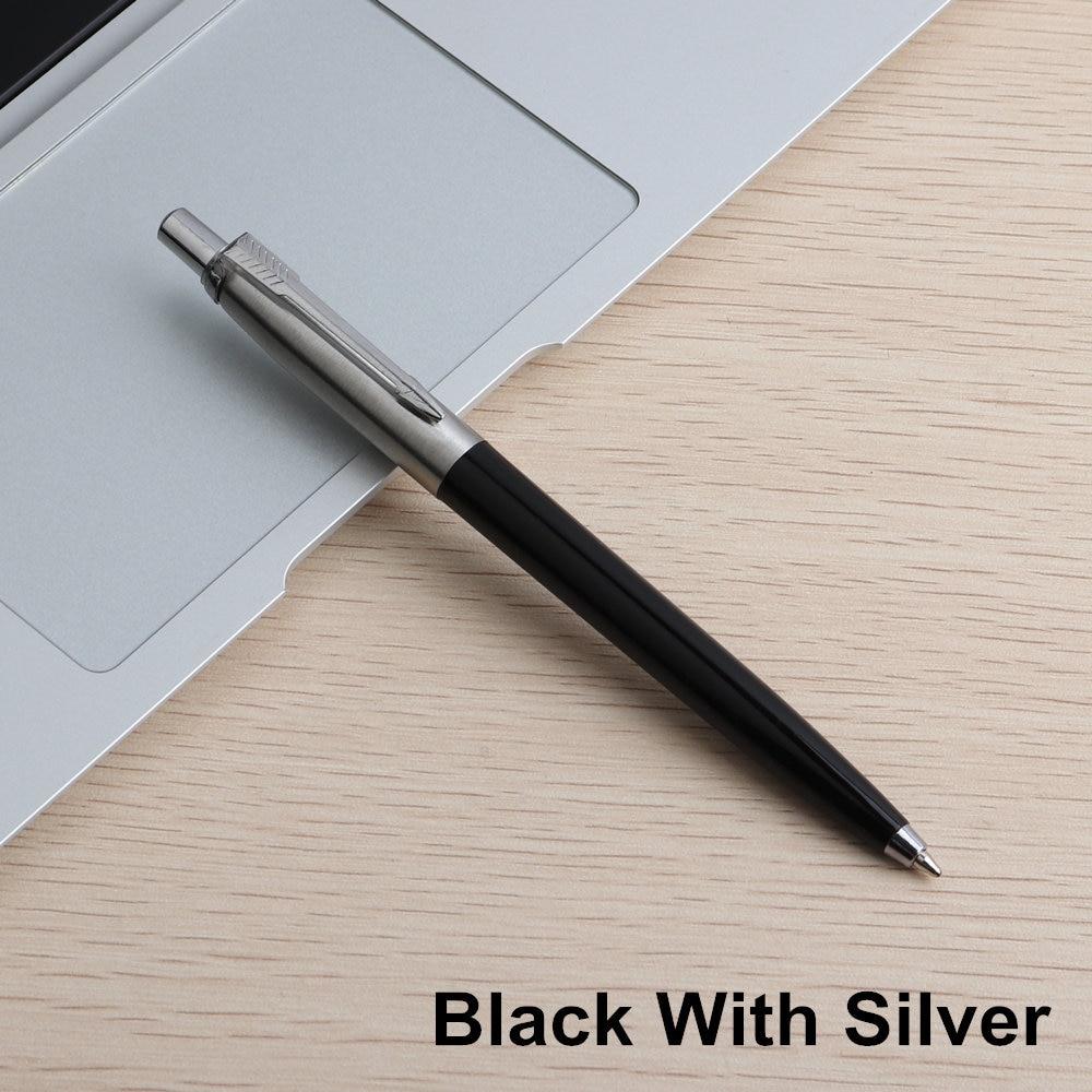 Офисная ручка Коммерческая металлическая Подарочная шариковая ручка канцелярские стержни solventborne автоматические шариковые ручки для школы офиса 0,7 мм заправки - Цвет: 1 Black With Silver