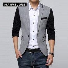 Manvelous Блейзер мужские модные повседневные узкие Цвет блок обычный 100% хлопковая куртка с длинным рукавом Англия Стиль мужские отворотом Блейзер Костюмы