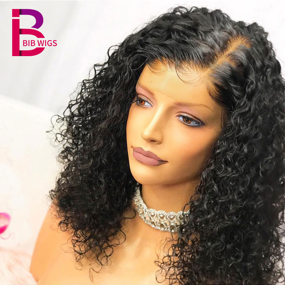 Short Curly Lace Front Human Hair Wigs For Women Natural Black Remy Peruivian Frontal Wig Plucked