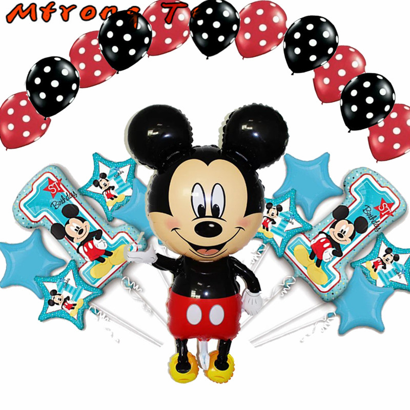Mtrong Te 22pcs Mikey Minnie happy birthday kit foil balloon birthday party decoration lovely Mikey Minnie toys aluminum balloon