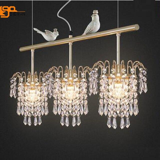Nouveau design oiseau cristal lustre éclairage moderne suspendus