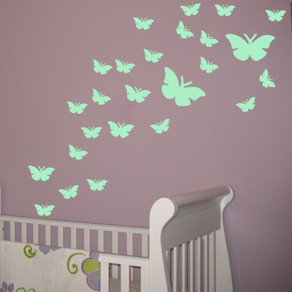 Aliexpress.com : Buy Luminous Wall Sticker Butterfly 3D Wallpaper  Fluorescent Glow In The Dark Wall Stickers Butterfly Home Decor Bedroom  Decoration From ... Part 82