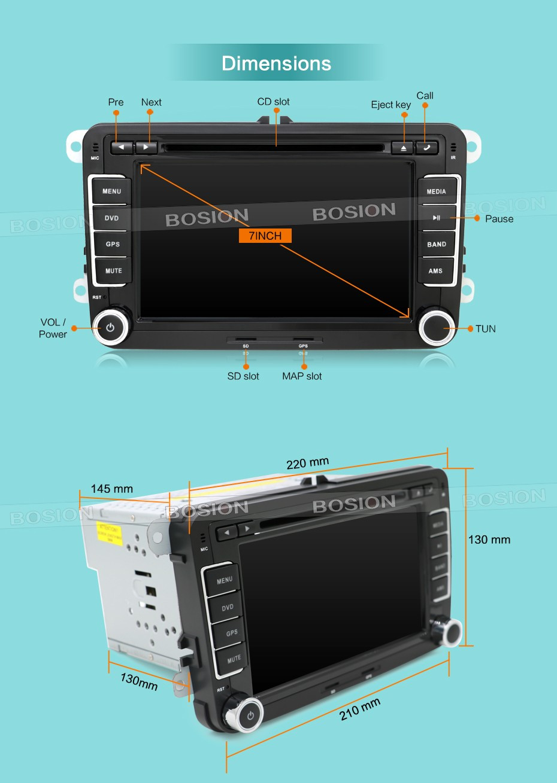 Lecteur dvd de voiture 2 DIN 7 ''pour VW GOLF JETTA POLO TOURAM PASSAT B6 avec écran tactile GPS, commande au volant, stéréo, radio, usb - 5