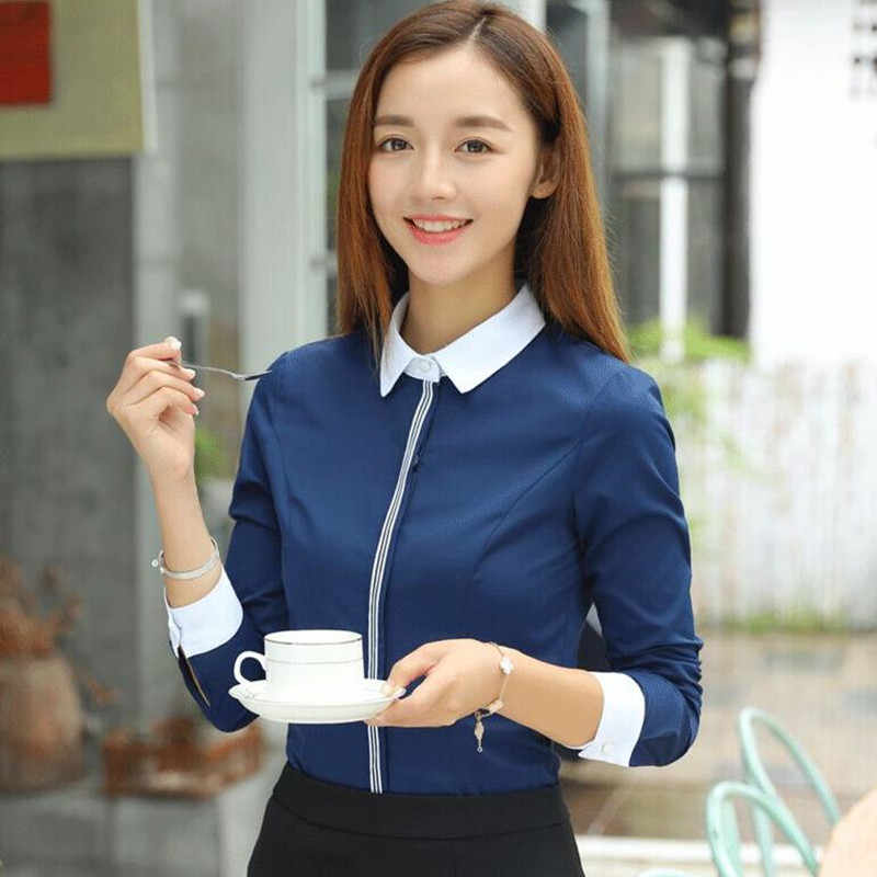 7fb26a3b4 ... New fashion women cotton shirt spring formal elegant patchwork blouse  office ladies work wear plus size ...