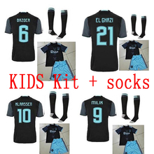 2017 Top Thai quality kids kit +sock Short sleeve Ajax Soccer jersey 16 17 child suit +sock Home Away shirt Free shipping