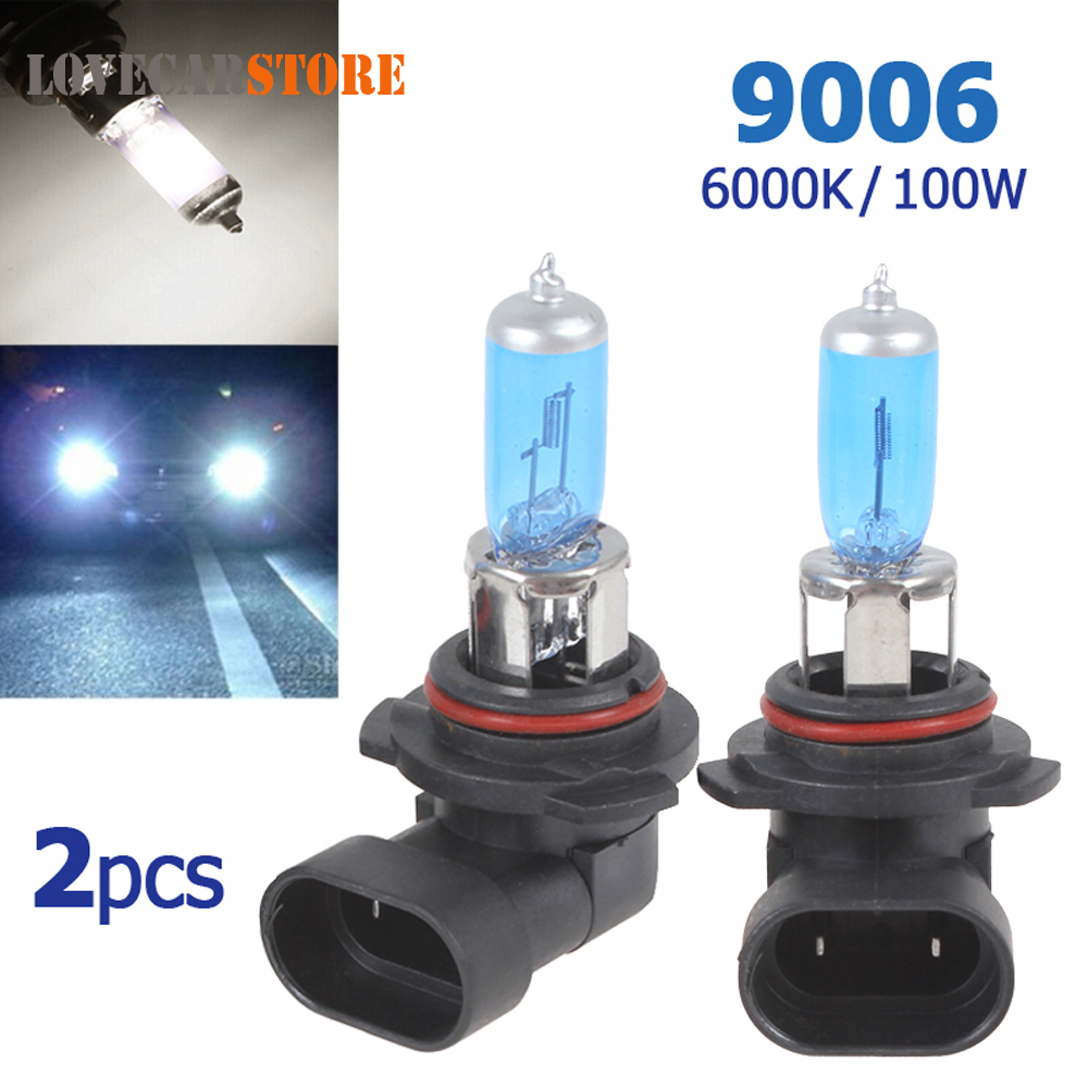 2pcs! 12V 9006 100W High Power Auto HOD Xenon Gas Halogen Lamp 6000K Car Headlight Head Light Bulb for Safe Driving 2 pcs h7 6000k xenon halogen headlight head light lamp bulbs 55w x2 car lights xenon h7 bulb 100w for audi for bmw for toyota